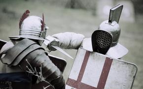 Мужчины: поединок, битва, гладиаторы, доспехи