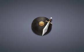Минимализм: минимализм, темноватый фон, меч, щит