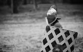 Мужчины: щит, воин, шлем, фон, гладиатор, черно-белое