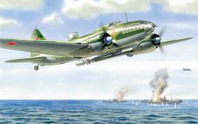 Авиация: СССР, Авиация, дальний бомбардировщик, рисунок, АРТ, Море, Корабли, Полет, Ильюшин
