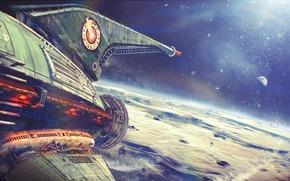Фантастика: арт, рисунок, планета, корабль, полет, космический, космос
