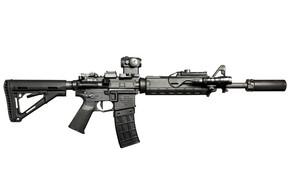 Оружие: оружие, штурмовая винтовка, карабин, фон, фонарик