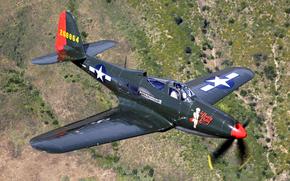 Авиация: ландшафт, истребитель, самолет, полет, пилот, ретро
