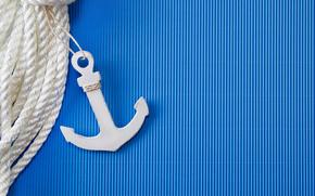 Минимализм: голубой, полосы, якорь, фон, верёвка