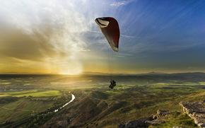Спорт: спорт, закат, парапланеризм, пейзаж, полеты на параплане