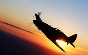Авиация: Самолёт, Закат, Крылья, истребитель, Полет, Солнце, Небо, Авиация, Пейзаж