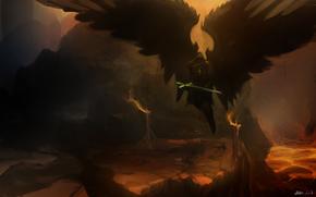 Фантастика: крылья, оружие, арт, фантастика, меч. скалы, ангел