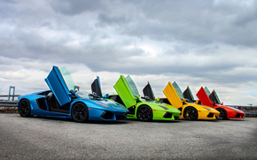 Машины: тучи, суперкар, Lamborghini, небо, цвет, двери