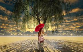 Ситуации: зонт, дерево, плакучая ива, арт, девочка