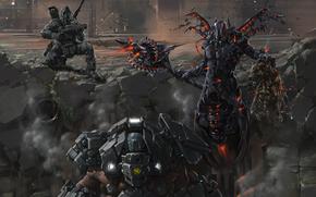 Фантастика: броня, руины, Воины, оружие, смайл