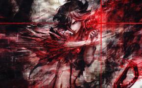 Аниме: девушка, красный, перчатка
