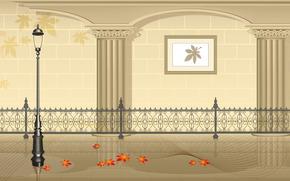Минимализм: металлическая резная ограда, стена, убранство, аркада, осенние красные листья, интерьер, фонарь, картина
