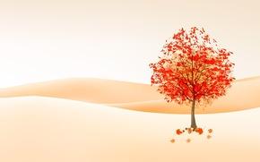 Минимализм: рисунок, осень, дерево, листья