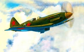 Авиация: Полет, Авиация, рисунок, Крылья, Облака, АРТ, Самолёт, Небо, истребитель, День, СССР