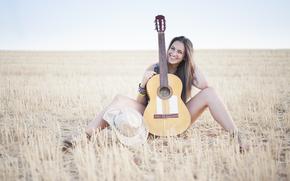 Музыка: улыбка, музыка, гитара, поле, девушка, настроение