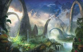 Фантастика: зелень, вода, пейзаж, вертолет, арт, фантастический мир, водопады, арки, растения, горы