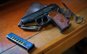 Оружие: оружие, пистолет, магазин, кобура, стол, самозарядный, Макарова, патроны