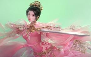 Обои Фантастика: в розовом, оружие, девушка, меч, арт, фэнтези