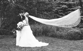 Праздники: фата, влюбленные, костюм, невеста, чувство, двое, поцелуй, трава, жених, платье