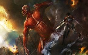 Аниме: парень, сражение, гигант, солдаты, разрушения, оружие