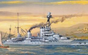 Оружие: небольшие, горы, корабль, рисунок, под, парусом, боевой, шлюпка, небо, порт, волны, вода