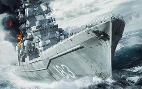 Оружие: пушки, корабль, море, пожар