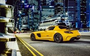 Машины: Дорога, Желтый, Суперкар, Мерседес, Бенц, Mercedes
