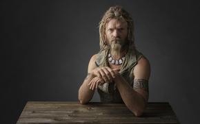 Мужчины: викинг, портрет, студия