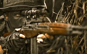Мужчины: винтовка, маскировка, засада, снайпер
