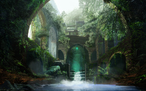 Фантастика: заросли, вода, арка, люди, арт, руины