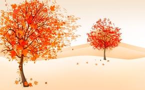 Минимализм: рисунок, ветер, осень, листва, деревья