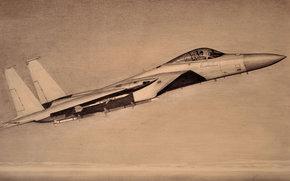 Авиация: карандаш, рисунок, истребитель, «Игл», тактический