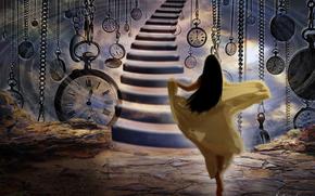 Фантастика: часы, спешит, девушка, длинные волосы, бежит, лестница, время