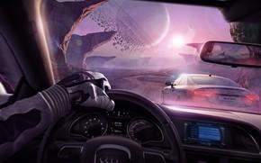 Фантастика: дорога, астероиды, рука, планеты, скалы, салон, машины, гонка