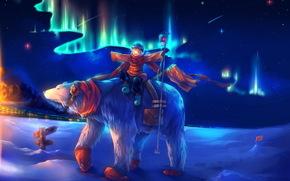 Аниме: север, арт, медведь