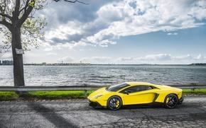Машины: Lamborghini, Суперкар, Море, Дорога