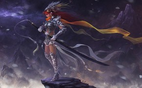 Обои Фантастика: скала, меч, арт, девушка, фэнтези, горы