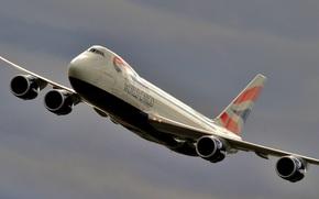 Авиация: двухпалубный, пассажирский, самолёт, небо, широкофюзеляжный