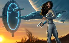 Фантастика: планета, корабль, костюм, Девушка, портал, оружие