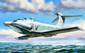 Авиация: Алексеев Р.Е., Орлёнок, АРТ, Крылья, Море, транспортно-десантный экраноплан, Вода, Полет
