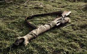 Оружие: снайперская, оружие, Ли-Энфилд, винтовка, трава, ремень