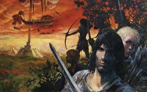 Фантастика: Thorgal, The raiders, art, painting, ship, swords, archers
