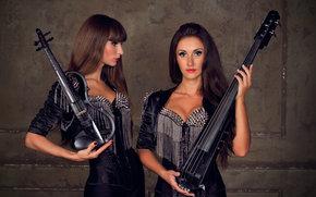 Музыка: рок, девушки, брюнетки, куклы, скрипка, виолончель, гитара, шипы, violin group dolls, электроскрипка, скрипачка