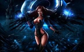 Фантастика: камни, девушка, арт, планета, энергия