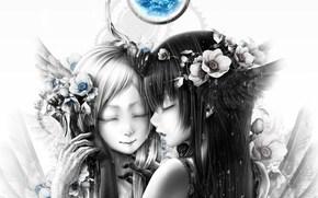 Аниме: перья, Девушки, улыбка, капли, цветы, двое