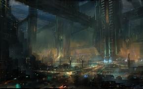 Фантастика: арт, огни, будущее, ночь, город, мегаполис