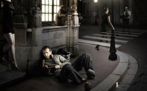 Ситуации: галлюцинации, кошка, мыльные пузыри, фантазия, девушка, город, арт, улица, бродяга