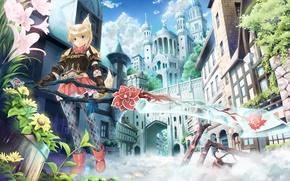 Аниме: аниме, цветы, меч, город