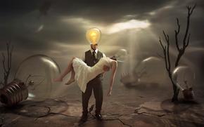 Ситуации: лампы, фантазия, угасшая, отчаяние, печаль, арт, безнадежность, свет