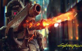 Обои Игры: огонь, шлем, игра, киберпанк, стреляет, оружие, полиция